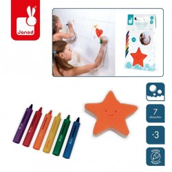 Janod - Kredki do kąpieli 6 kolorów z gąbką 3+ | Esy Floresy