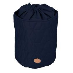 Filibabba - Zamykany pojemnik materiałowy na zabawki Pikowany Dark Blue | Esy Floresy