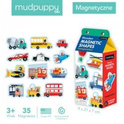 Mudpuppy - Zestaw drewnianych magnesów Środki transportu 35 elementów   Esy Floresy