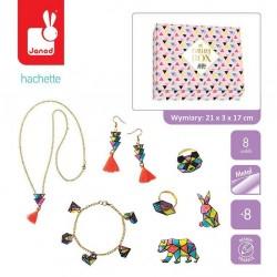 Janod - Zestaw kreatywny do tworzenia biżuterii z kurczliwego plastiku Geometrix 8+ | Esy Floresy
