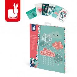 Janod - Zestaw kreatywny Bajeczne hafty Pocztówki   Esy Floresy