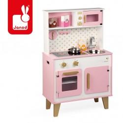 Janod - Duża kuchnia drewniana z dźwiękiem i 6 akcesoriami Candy Chic   Esy Floresy
