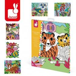 Janod - Zestaw kreatywny Aksamitne karty Tropikalna dżungla | Esy Floresy