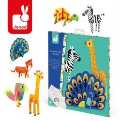 Janod - Zestaw kreatywny Papierowe zwierzęta 3D | Esy Floresy