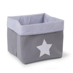 Childhome - Pudełko płócienne 32 x 32 x 29 cm Grey Stripes | Esy Floresy