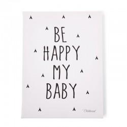 Childhome - Obrazek 30 x 40 cm Be Happy My Baby Black&White   Esy Floresy