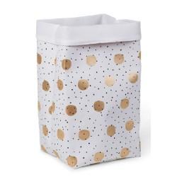 Childhome - Pudełko płócienne 32 x 32 x 60 cm Gold Dots | Esy Floresy