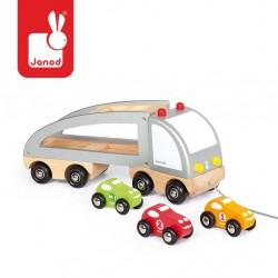 Janod - Samochód drewniany laweta do ciągnięcia | Esy Floresy