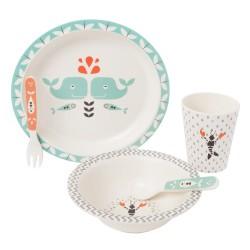 Fresk - Bambusowy zestaw obiadowy Wieloryb | Esy Floresy