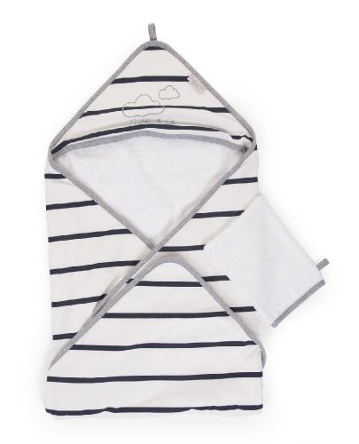 Childhome - Ręcznik z kapturkiem + myjka Jersey Marin - Esy Floresy