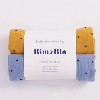 bim-bla-zestaw-pieluszek-muslinowych-w-kropeczki-niebiesko-musztardowy