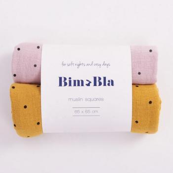 bim-bla-zestaw-pieluszek-muslinowych-w-kropeczki-rozowo-musztardowy