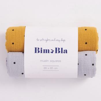 bim-bla-zestaw-pieluszek-muslinowych-w-kropeczki-szaro-musztardowy